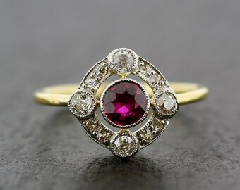 Art Deco Antique Engagement Ring - Art Deco Ruby & Diamond Engagement Ring 18ct Gold and Platinum