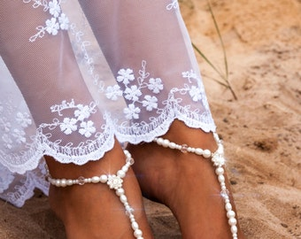 Bridal Foot jewelry Rhinestone Beach wedding White Crochet