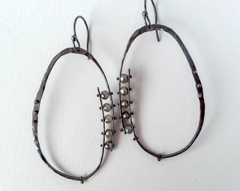 Hand Forged Riveted Sterling Silver Hoop Earrings With Labradorites