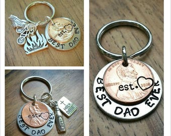 Dad Keychain, Stamped Penny, Fathers Day Keychain, Personalized Dad, New Dad Gift, Best Dad Ever, Charm Keychain, Gift for Grandpa,
