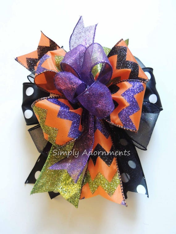 Purple Black Orange Halloween Wreath Bow Halloween Chevron Lantern Bow Halloween Bow Halloween Funky Door Hanger Decor Halloween Gift Bow