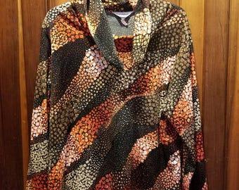 ABSTRACT COWL NECK // Vintage Tomorrow's Dream Cowlneck Turtleneck Blouse Top Shirt 70's Size l/xl Plus Size 1X Brown Orange Red White
