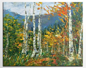Oil Painting Original, Abstract Landscape Painting, Birch Tree Art Painting, Large Wall Art, Heavy Texture Oil Painting, Landscape Painting
