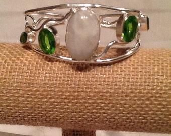 Moonstone and Peridot Cuff Bracelet