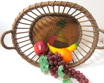Vintage Basket, Wood Bottom with Fruit Graphics,  Handles and Spokes, Table Decor