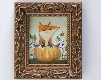 Mini Pumpkin Fox Gouache Original