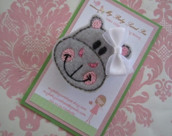 Girl hair clips - hippo hair clips - girl barrettes