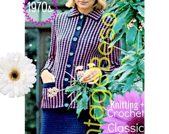 Ladies Dress Suit • 1970s KNITTING + CROCHET Pattern • PdF Pattern • Jacket Top Blouse Skirt Digital Pattern • Retro Vintage Classic Suit