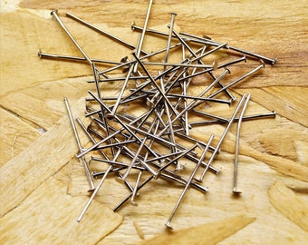 Set of 100 pine heads, silver-colored, nickel-free and lead-free, 18 * 0.7 mm
