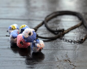 mini chirimen hanamaru necklace blue