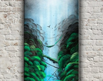 Green painting Tropical Jungle painting Jungle wall decor Landscape painting art Nature wall decor Nature gift trees painting trees wall art