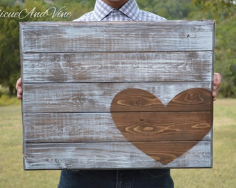 Wedding Guest Book-Heart-Anniversary-Sign-Pallet Board-Guestboard-Wall Art-Rustic-Barnwood Decor-Country-Reclaimed Wood-Hand Painted