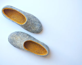 Wool Slippers Gift For Her, House Shoes With Leather Soles, Felt Clogs By Indre Naujokiene