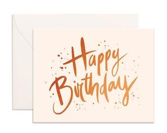 Copper foil birthday greeting card