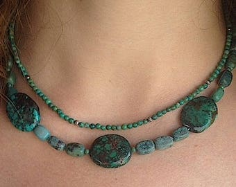 Spider's Web 2 Strand Spider Web Turquoise and Chrysocolla with Sterling SIlver Clasp 2 Strand 16 Inch Necklace