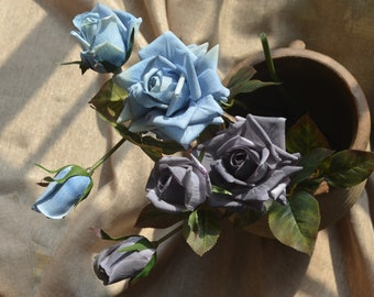 Grey Roses Spray Real Touch Flowers Pale Blue Roses DIY Wedding Bouquets Centerpieces, 3 blooms/stem