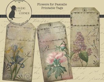 Printable Flower Tags, Printable Spring Tags, French Flower Tags, Spring Flower Tags, All-Occasion Tags, Vintage Inspired Tags