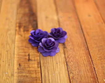 Wooden Roses 150 Pcs Dark Purple Violet Birch for Weddings, Home Decorations, Scrapbooking and Floral Arrangements