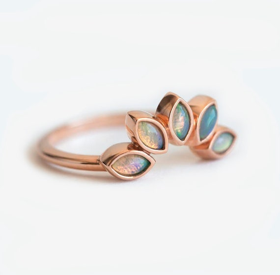 Opal Wedding Ring Opal Wedding Band Opal Sun Ring Rose Gold