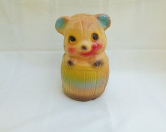 CLEARANCE-Chalkware Bear in Barrel Carnival Prize Collectible Faux Animal Bank