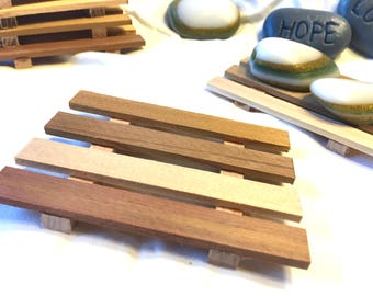 SALE - 10, 15 or 24 Western Red Spanish cedar soap dishes - .95 cents each - handmade in America