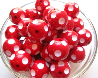 CLEARANCE 10 Red Polka Dot Chunky Beads, 20mm Polka Dot Bubblegum Beads, Gumball Bead, Acrylic Bead, Plastic Bead, Necklace Bead, Round Bead