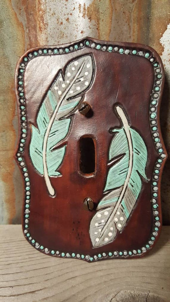 Turquoise and Grey Feather Leather Switch Plate