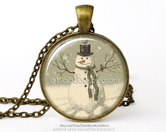Vintage Snowman Christmas Gift Holiday Necklace - Handmade