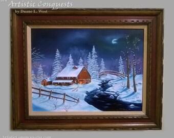"ORIGINAL Oil Painting - ""Winter Barn"" Landscape / Full Moon Night, Winter Landscape Art / Ranch Decor / Rustic Christmas - Framed, 18x24"""