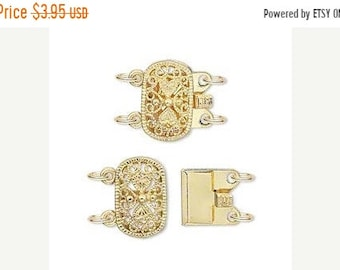 Mothers Day Sale New 2 Pair Pack gold Finish Brass Box Style Filigree Oval 15X9mm Clasps