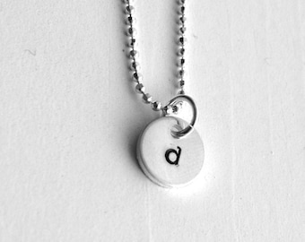 Tiny Initial Necklace, Letter d Pendant, Personalized Necklace, Hand Stamped Small Initial Pendant, Sterling Silver Jewelry, All Letters, d