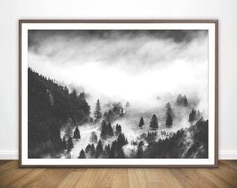 Black and White Print • Living Room Wall Art Landscape Photography Landscape Print Foggy Forest Print Black and White Wall Art Nature Poster