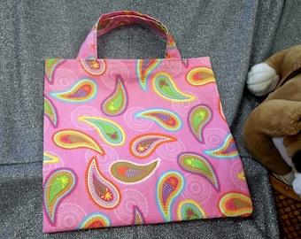 Book Lunch N Small Gift Tote Bag, Flower Teardrops on Dark Pink Print