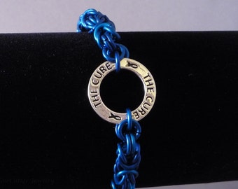 Blue Cure Byzantine Chainmaille Bracelet, awareness ribbon affirmation ring charm, child children cancer, chainmail anodized aluminum