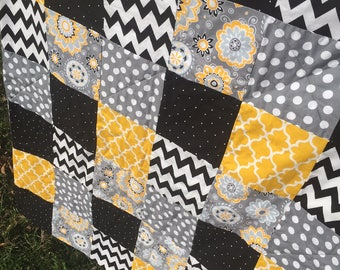 Black and White Chevron, Yellow Trellis, Gray Floral, Polka Dot Baby Quilt Blanket Throw, Wall Hanging, Cover Shower Gift