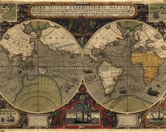 Antique World Map, Hondius 1595
