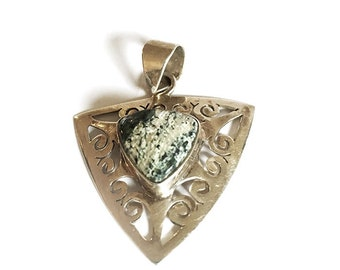 Vintage Sterling Silver green stone style pendant