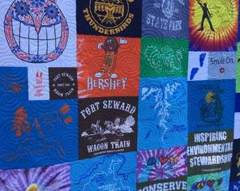 Mosaic T-Shirt Quilt DEPOSIT, T-shirt Quilts, T Shirt Quilt, Sorority Quilt, T Shirt Blanket, Memory Quilt, Graduation, Custom TShirt Quilt