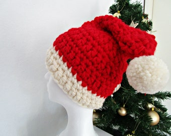 Crochet Santa hat Red christmas hat photo prop Adult Santa Claus hat Pom pom hat Chunky Santa beanie fairytale-gift Santa Claus costume