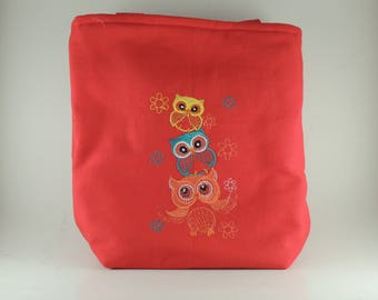 Owl  tote bag lined with straps
