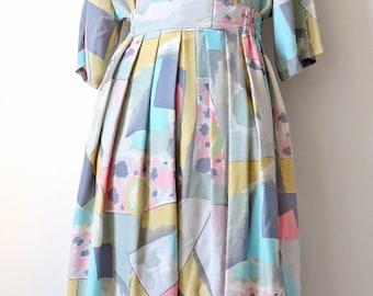 80's pastel skirt & blouse. size small medium.