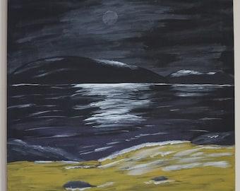 Acrylic painting, Seascape, Moon, Night sky