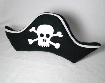 Pirate Pillow Captain Skull and Crossbone Hat Handmade  Decorative