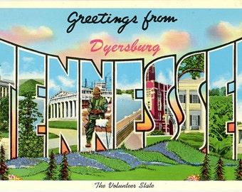 Dyersburg Tennessee Large Letter Vintage Greetings Postcard (unused)