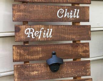 Rustic Wood Grill Tool Holder/Bottle Opener