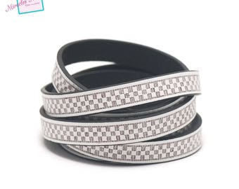 "1 m cord strap split leather 10 x 2 mm ""chessboard"", white"