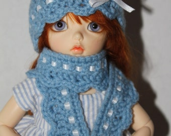 YoSD Hat and Scarf set in Blue