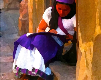 Original Art Woman in Doorway San Miguel Mexico Giclee Print On Archive Quality Photo Paper