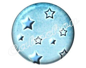 1 cabochon 25mm glass, stars, blue tone