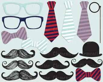 Mustache clip art images,  moustache clipart, mustache vector, royalty free clip art-- Instant Download